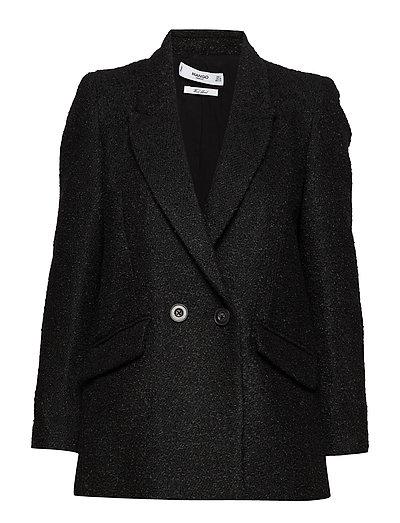 Structured textured blazer - BLACK