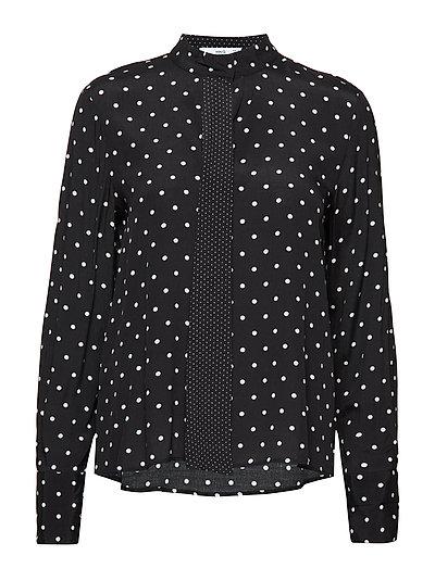 Polka-dot flowy blouse - BLACK