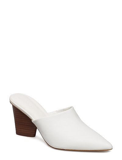 Heel leather mules - WHITE