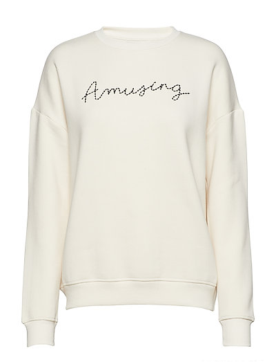 Embroidered message sweatshirt - NATURAL WHITE