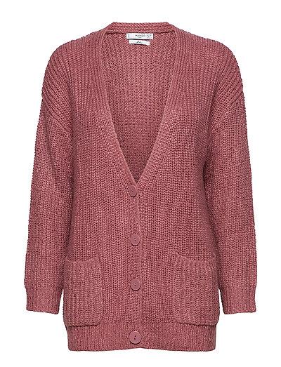 Textured knit cardigan - DARK RED