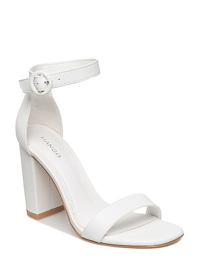 Leather ankle-cuff sandals - WHITE