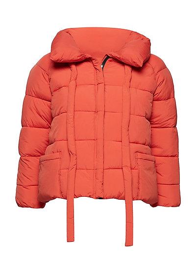 Water-repellent quilted coat - ORANGE