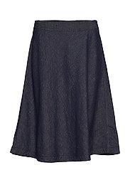 Skirt, circle skirt silhouette, 2-n - LINEN DENIM