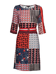 Dress, tunique style, cropped sleev - COMBO WOVEN PATCHWORK MULTI