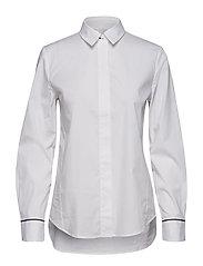 Blouse, long sleeved, light stretch - WHITE