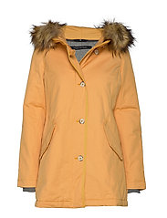 Coat, short parka, thermore, shaped - AMBER WHEAT