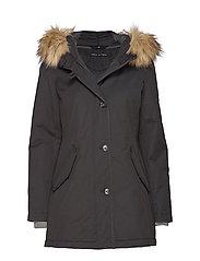 Coat, short parka, thermore, shaped - BLACK