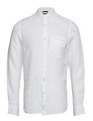 Band collar,long sleeve,welt pocket - WHITE