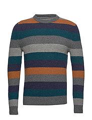 Pullover, Crew neck, Stripe - GRAPHITE GREY MELANGE