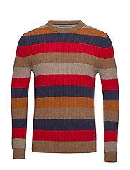 Pullover, Crew neck, Stripe - PECAN