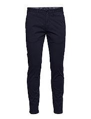 Chino, slim fit, narrow leg, button - BLUE BIRD