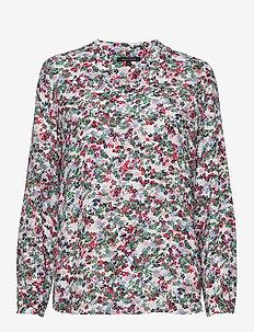 Blouse, open v-neck, long sleeved, - COMBO
