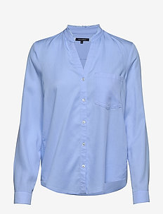 Blouse, round neck with fringes, lo - SPRING SKY