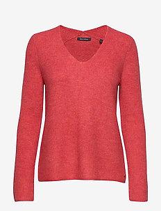 Pullover, longsleeve, feminine V-ne - swetry - berry smoothie