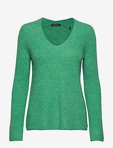 Pullover, longsleeve, feminine V-ne - swetry - fresh sea