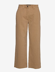 Pants, wide leg, high rise, cropped - bukser med brede ben - mild tobacco