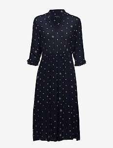 Dress, feminine shape, v-neck with - robes midi - multi/ night sky