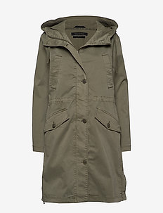 Parka, cotton garment dyed, fixed h - CLEAR FERN