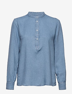 Blouse, stand up collar, long sleev - blouses à manches longues - multi