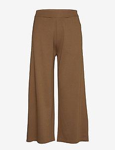 JERSEY PANTS - bukser med brede ben - deep tobacco