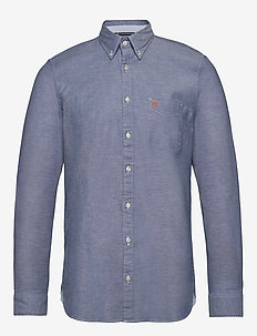 Button down, long sleeve, stitching - basic shirts - multi/mazarine blue