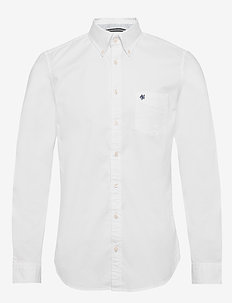 Button down, long sleeve, stitching - basic shirts - white