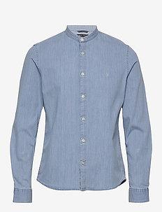 Band collar,long sleeve, denim styl - chemises basiques - multi/airblue