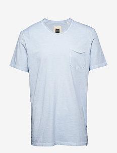 T-shirt, short sleeve, v-neck, raw - basic t-shirts - airblue