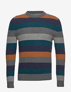 Pullover, Crew neck, Stripe - rund hals - graphite grey melange