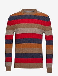 Pullover, Crew neck, Stripe - rund hals - pecan