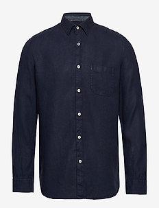 Kent collar, long sleeve,one pocket - basic shirts - total eclipse