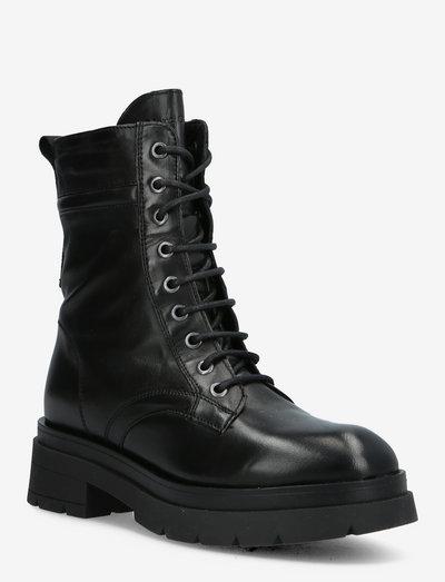 LACE FLATHEEL BOOTIE - flade ankelstøvler - black