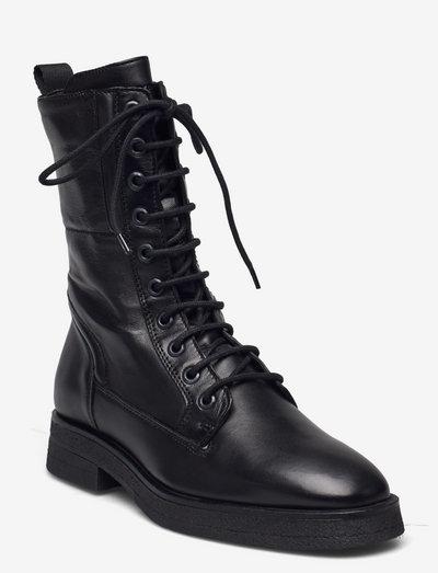 Lace Up Bootie - flade ankelstøvler - black