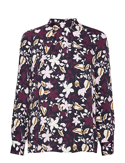 Blouse, Stand Up Collar, Long Sleev Bluse Langärmlig Bunt/gemustert MARC O'POLO