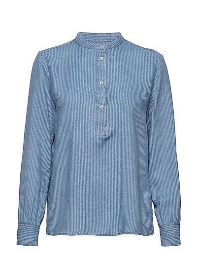 Blouse, Stand Up Collar, Long Sleev Bluse Langärmlig Blau MARC O'POLO