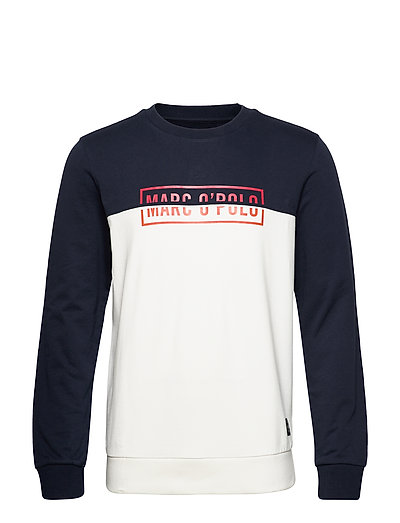 Crew Neck, Color Mix With Artwork O Sweat-shirt Pullover Bunt/gemustert MARC O'POLO