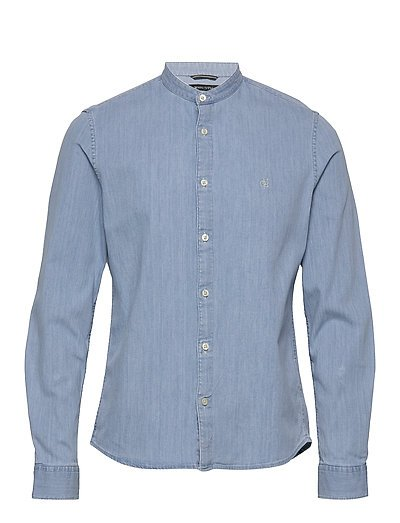 Band Collar,Long Sleeve, Denim Styl Hemd Casual Blau MARC O'POLO