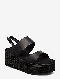 Apple 4A - højhælede espadrillos - black
