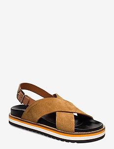 Andrea 1A - flade sandaler - cognac