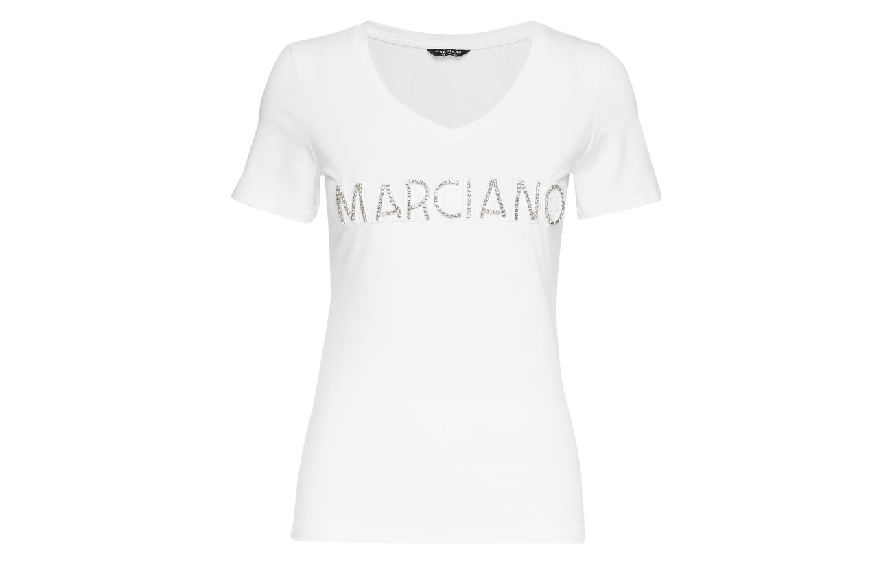 Coton White 95 Patch Tee Elastane Logo By Marciano Crystal True 5 A000 Guess wvTqTR1