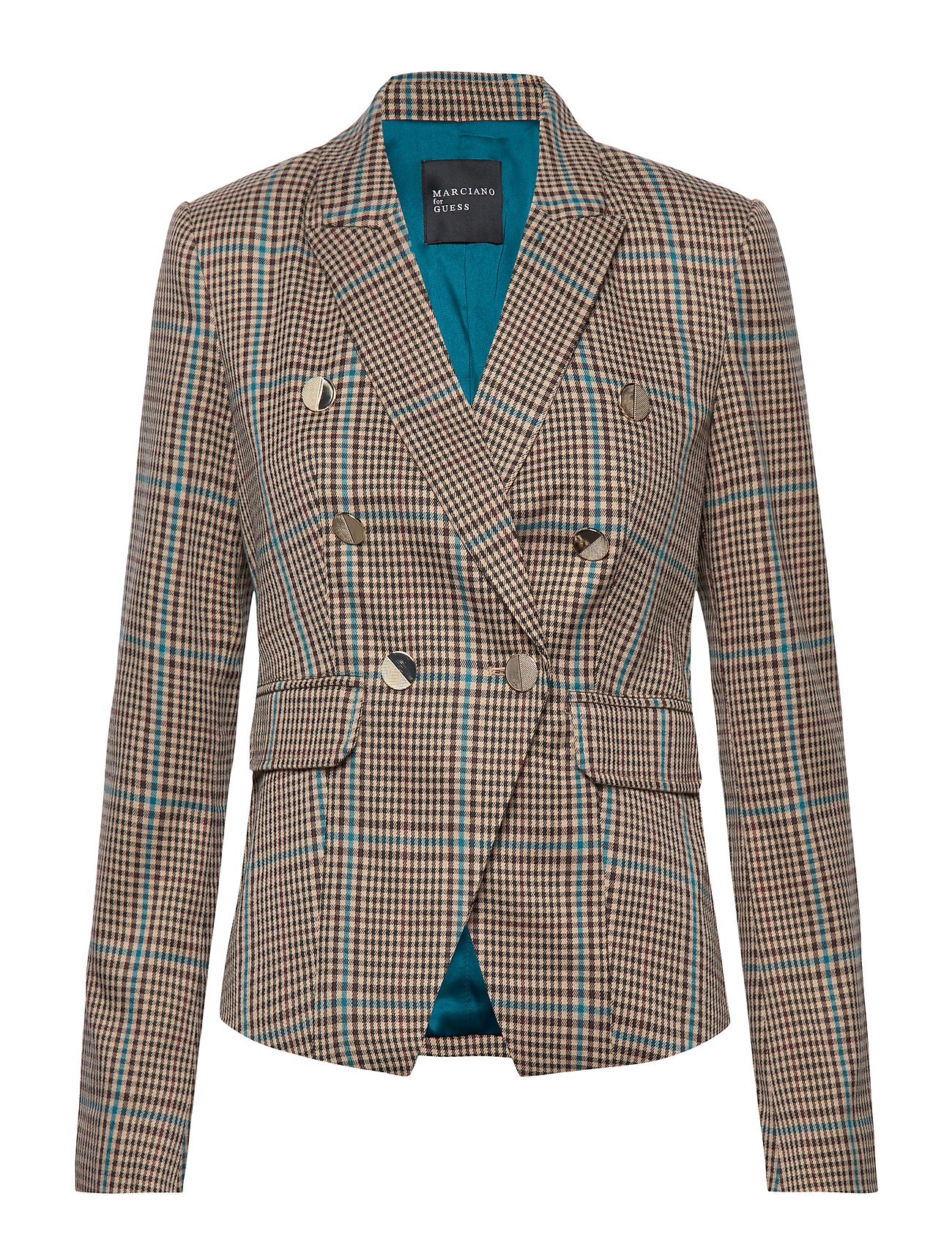 Marciano by GUESS PLAYFUL PLAID BLAZER - CHECK WARM BEIGE/