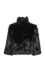 SPELLBOUND FAUX FUR JACKET - JET BLACK A996