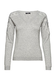 TIFFANIE SWEATER TOP - STONE HEATHER GRE
