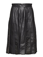 MALVINA LEATHER PLEATED SKIRT - JET BLACK A996