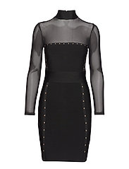 SADIRA BANDAGE DRESS - BLACK FANCY BLACK