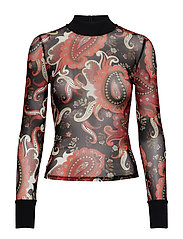 SID MESH TOP PAISLEY FANTASY - BLACK PAISELY FAN