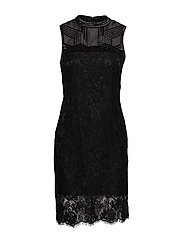 CRIMSON LACE EMB. DRESS - NOIR DE JAIS