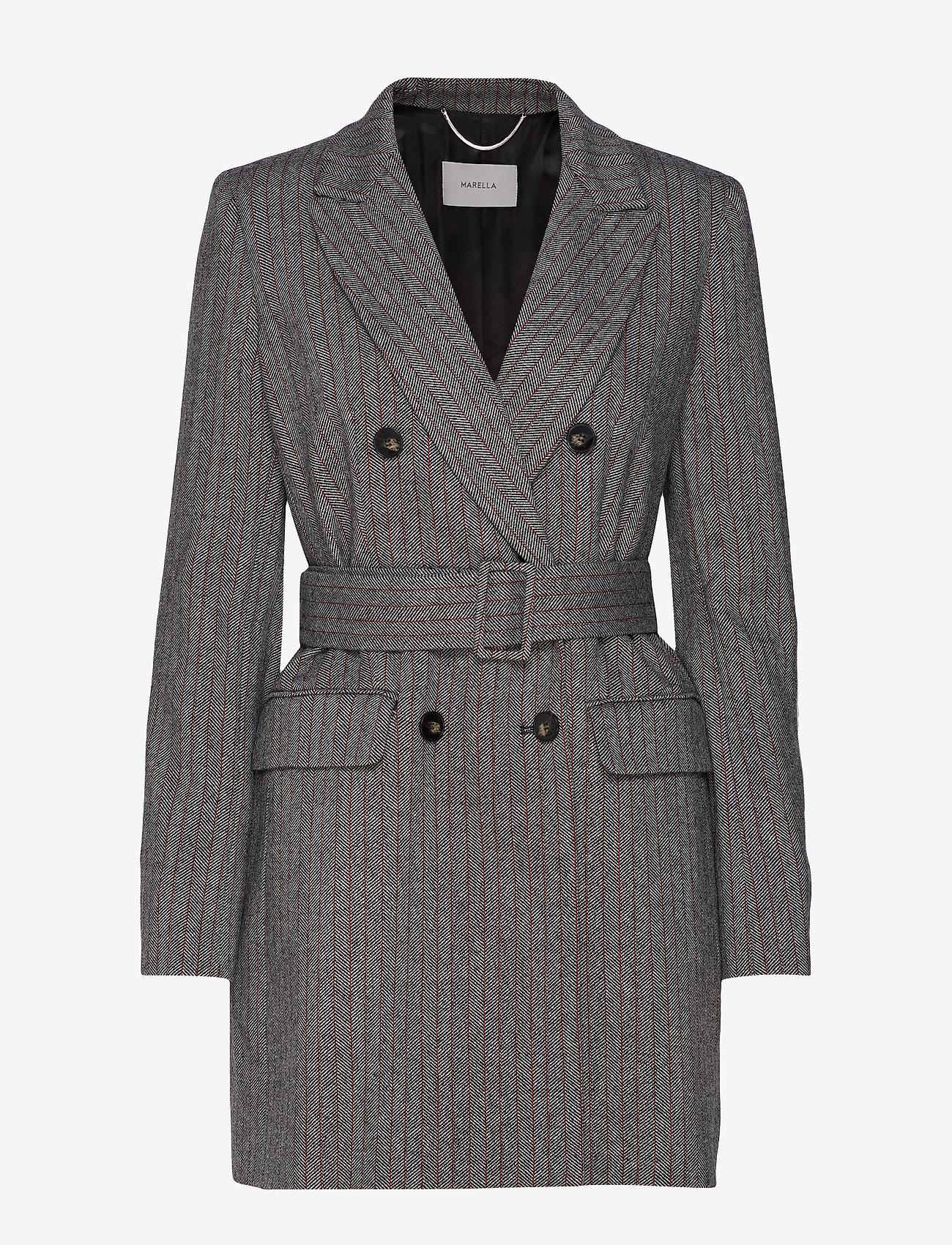Marella - TIFFANY - wełniane kurtki - grey pin-strip. herringbone - 0