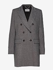 Marella - TIFFANY - wełniane kurtki - grey pin-strip. herringbone - 2
